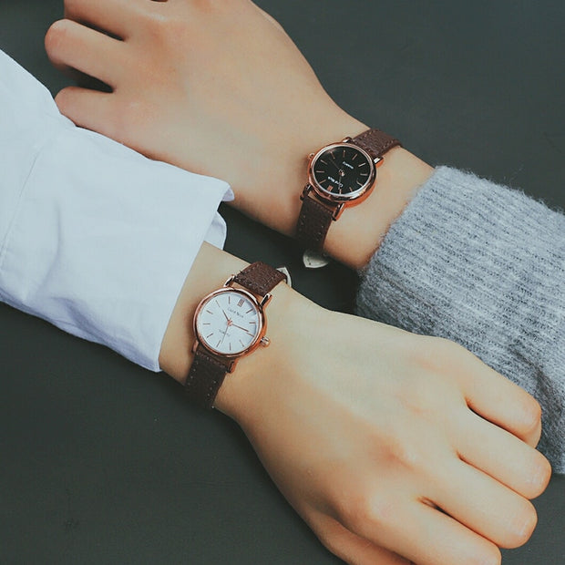 2019 New Women Cute Leather Strap Watches Design Student Quartz Wristwatches Ladies Casual Dress Bracelet Wrap Watches Gift