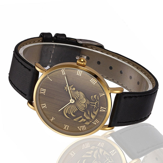 2019 Relogio Masculino Fashion Leather Men's Business Watches Male Clock Men Retro Chicken Pattern Analog Quartz Wrist Watch#YL5