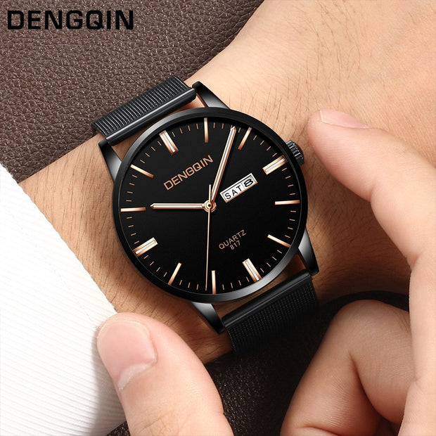 2019 SALE Men Date Week Display Luxury Quartz Sport Military Stainless Steel Dial Band Wrist Watch Clock Saat Gift Dropshipping