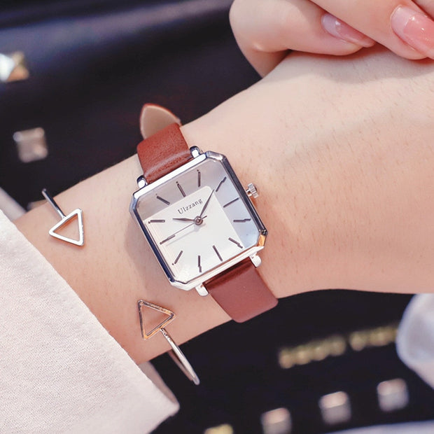 2019 Top Brand Rectangle Women Bracelet Watches Contracted Leather Crystal WristWatches Women Dress Ladies Quartz Clock
