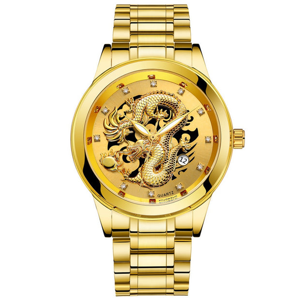 2019 Waterproof Mens Gold Dragon Sculpture Quartz Watch Luxury Men Steel WristwatchRelogio Feminino Relogio Masculino