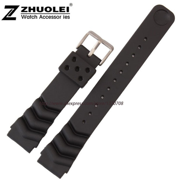 20mm 22mm Black With Stainless Steel Buckle Mens Waterproof PU Rubber Divers Watch Strap For Diver Watch Band Bracelet