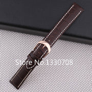 22m New High Brown Croco Grain Genuine Leather Strap With White Stitched Rose Gold Stainless Steel Watch Buckle Clasps