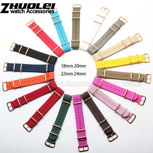 3silver Rings With Silver Buckle Nylon Watchband 18mm 20mm 22mm 24mm For Zulu Watch Band Nato Nylon Watch Straps Free Shipping