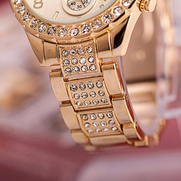 #5001 Autumn LL Geneva Women Fashion Luxury Crystal Quartz Watch