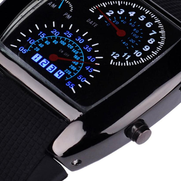 #5001 Leisure Woman Sports Watch Fashion Aviation Turbo Dial Flash LED Watch Gift Mens Lady Sports Car Meter