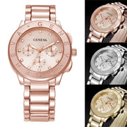 #5001 Stainless Steel Watch Fashion Geneva Ladies Women Girl Unisex Stainless Steel Quartz Wrist Watch