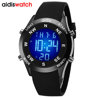 AIDIS Brand Men's Fashion Casual Sports Watches Waterproof LED Digital Electronic Silicone Watch Men Clock Relogio