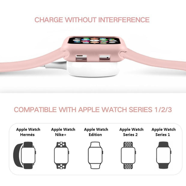 ASHEI Sport Soft Silicone Band For Apple Watch Watchband 38mm 42mm IWatch Strap With TPU Case Outdoor Smart Watch Wrist Bands