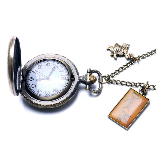 Alice In Wonderland Extension Antique Rabbit & Alice Design Bronze Pocket Watch With Drink Me & Rabbit Pendant