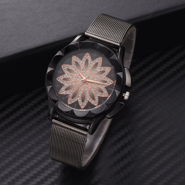 Alloy Mesh Strap Female Watch Round Dial Hollow Flower Quartz Women Wristwatch