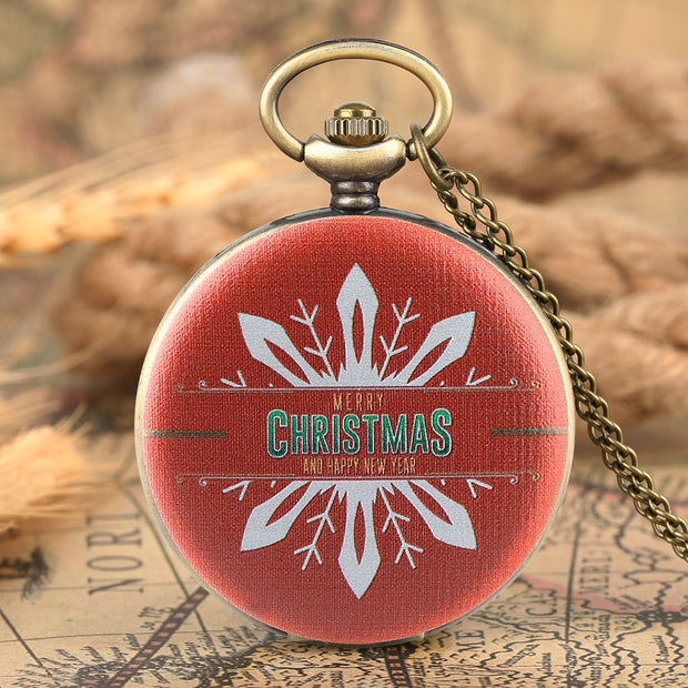 Antique Pocket Watch For Men Women Snowflake Christmas Red Pattern Pocket Watches For Kids Quartz Arabic Numreal Watch Gift