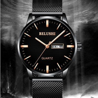 BELUSHI Watch Men 2018 Fashion Luxury Business Casual Mesh Band Quartz Wristwatch Male Clock Saat Date Week Display Mens Watches