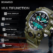 BOAMIGO Military Sports Watches Men Alarm 30M Waterproof Watch LED Back Light Shock Digital Wristwatches Relogio Masculino 2018