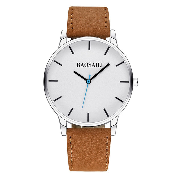 BSL996 BAOSAILI Brand Leather Strap Wristwatch Mens Relogios Masculino Stainless Steel Back Sport Watch