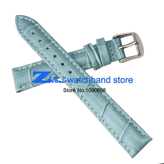 Blue Genuine Leather Watchband 12mm 14mm 16mm 18mm 20mm Female Watch Belt Strap Wristwatches Band