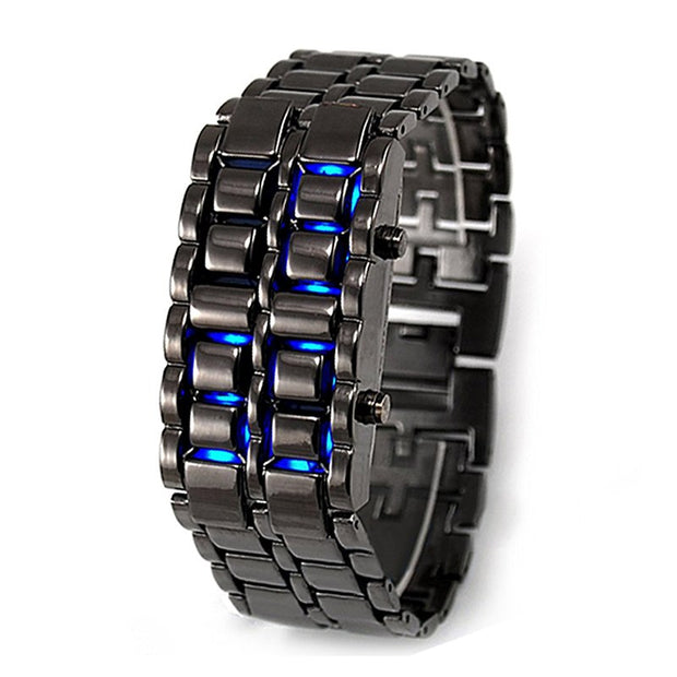 Blue LED Digital Watch Ladies Men Watch Sports Quartz Watch Black Bracelet Wrist Watch Unisex