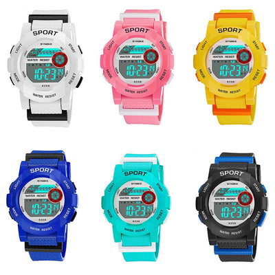 Boys Girls Kids Sports Casual Glow In The Dark Date Digital Alarm Wrist Watch