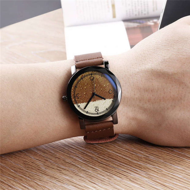 Brand Fashion Men Watch High Quality Leather Wrist Watches Casual Male Clock Quartz Factory Regular Brand Brown Waterproof 2019