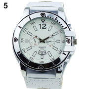 Brand New Hot Sale Colorful Cool Men's Fashion Oversized Dial Sport Quartz Steel Faux Leather Band Wrist Watch For Gift 1GRH