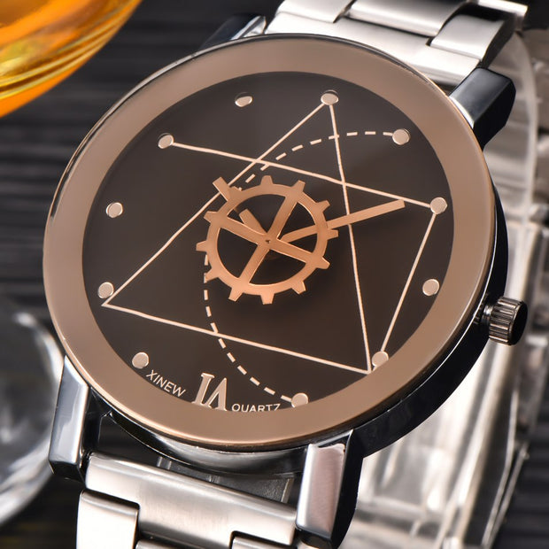 Brand XINEW Original Couple Watch Men Women Full Steel Fashion Silver Gear Casual Quartz Watches Relogio Masculino Feminino