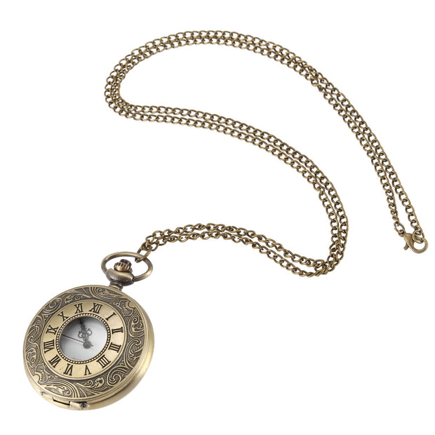 Bronze Large Engraving Lace Bronze Roman Numeral Necklace Quartz Vintage Pocket Watch