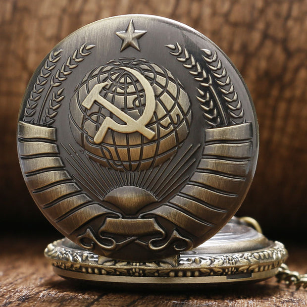 Bronze Vintage Antique Russia Soviet Sickle Hammer Quartz Pocket Watch Necklace Pendant Clock For Mens Womens Birthday Gifts