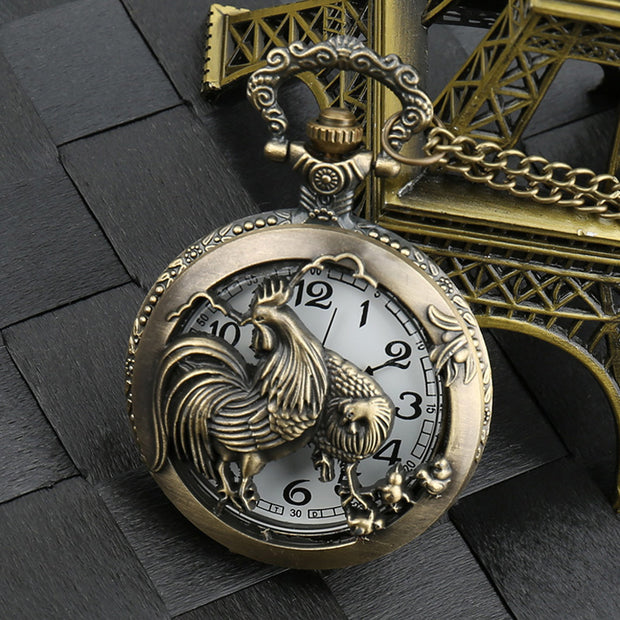 Bronze Zodiac Chicken Nostalgic Vintage Pocket Watch Large Embossed Hollow Big Rooster Pocket Watch