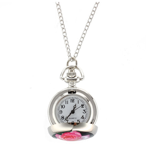 CATS Rose Print Hunter Case Silver Tone Chain Necklace Quartz Watch