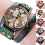 CCQ Men Women Fashion Multilayer Retro Map Dial PU Strap Alloy Quartz Watch