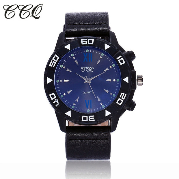 CCQ Woman's Watch Simple Leather Band Blue Dail Quartz Wristwatch Classic Casual Fashion Analog Watch Women Watches Reloj 533