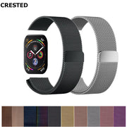 CRESTED Milanese Loop For Apple Watch Band 42mm/44mm Apple Watch 4 3 Iwatch Band 38mm/40mm Stainless Steel Wrist Bracelet 3 2 1