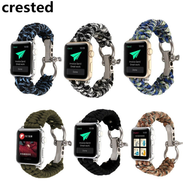 CRESTED Sports Woven Nylon Rope Bracelet For Apple Watch Band 40mm 44mm  IWatch Wrist Band Strap Watch Band Replacement Belt