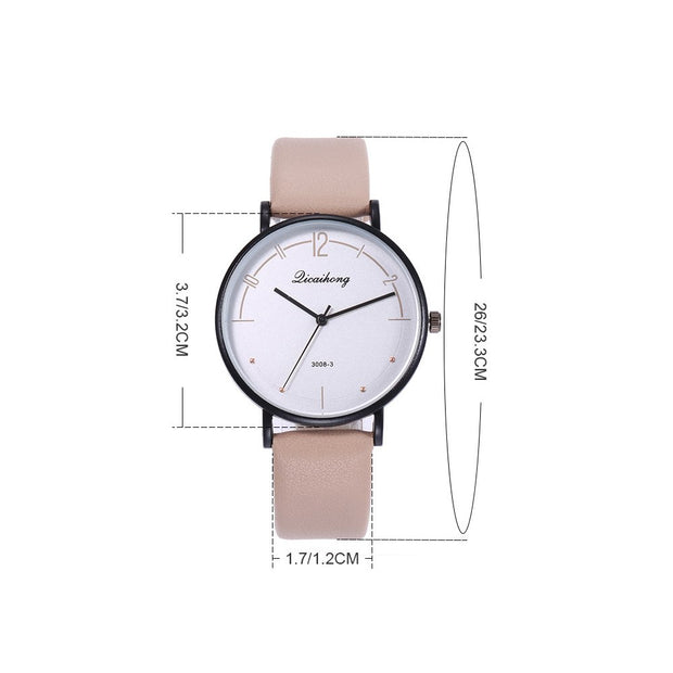 Casual Unisex Round Dial Arabic Numbers Quartz Analog Wrist Watches Couple Gift