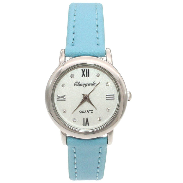Chaoyada Ladies Watches Girl Leather Strap Learn Time Kids Watch Students Quartz Wristwatch Casual Fashion Horloge U101J