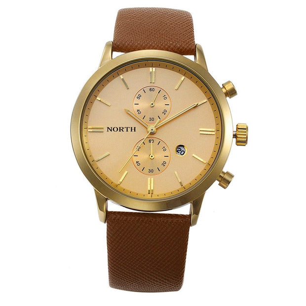 Chronograph Mens Watches Top Brand Luxury Leather Strap Sports Quartz Wrist Watches Multi-function Wristwatch Relogio Masculino