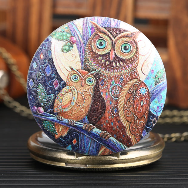 Classic Mens Pocket Watch Owl Pattern Necklace Chain Watches For Boy Quartz Arabic Numeral Pocket Watches For Teenager