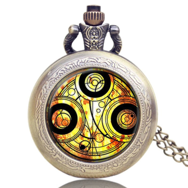 Classic Pocket Watch, Doctor Who Series Glass Dome Quartz Pocket Watch For Men, Necklace Pocket Watch Gift