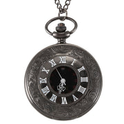 Classical Black Steampunk Roman Digital Dial Men'S Vintage Pendant Necklace Pocket Watch