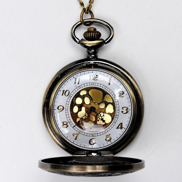 Classical Large Gold Face Roman Pocket Watch Stylish Roman Scale Pocket Watch Bronze Pocket Watch