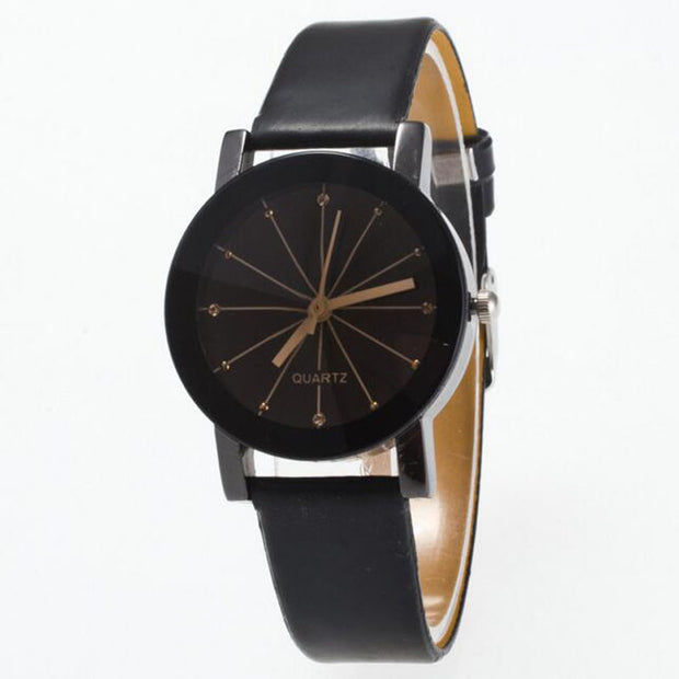 Classics Black Leather Lover's Watches Creative Couple Gift For Lovers Geometric Quartz Luxury Band Wristwatch Minimalist Watch