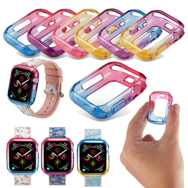Colorful Dual Colors Watch Case Silicone Cover For IWatch Series 4 Cover For Apple Watch 40mm 44mm Rubber Watch Case