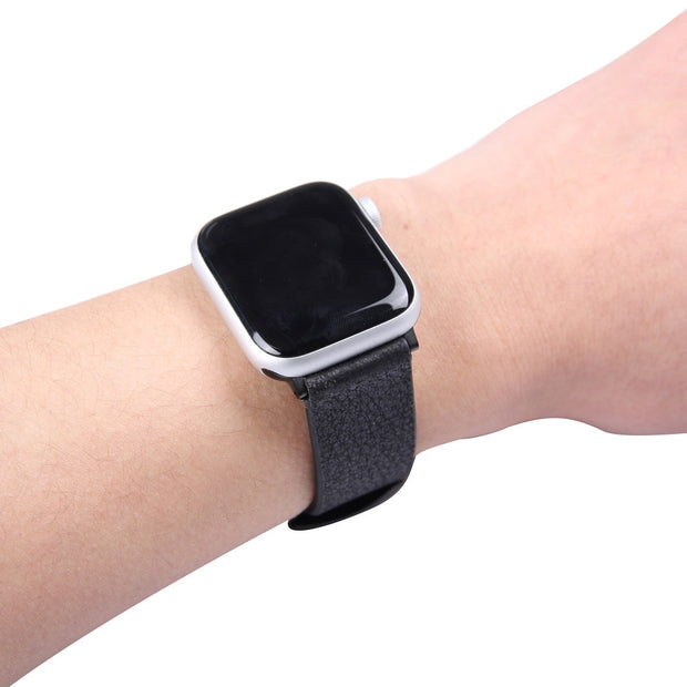 Compatible With Apple Watch Series1/2/3/4 Real Leather Watchband Black /Brown Strap 38MM/40MM/42MM/44MM