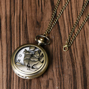 Cool Howling Wolf Hound Dog Bronze Copper Retro Women Men Quartz Pocket Watch Pendant Necklace Chain Gift Relogio De Bolso