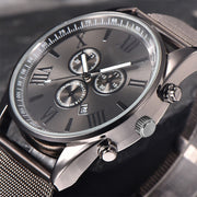 Cool Men's Stainless Steel Band Business Analog Date Display Quartz Wrist Watch