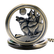 Cool Quartz Pocket Watch Howling Wolf Hound Dog Bronze Copper Retro Women Men Pendant Necklace Chain Gift Relogio De Bolso