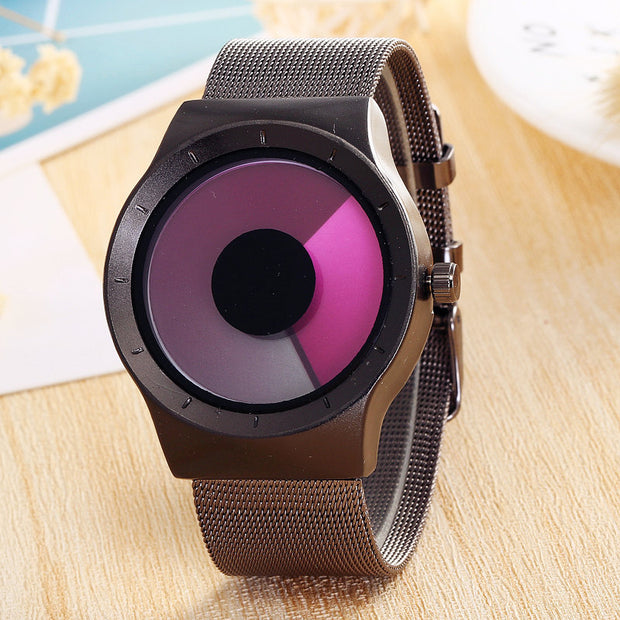 Creative Concept Watch Scanning Discoloration Dial Stainless Steel Alloy Mesh Band Quartz Watch