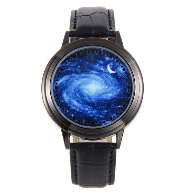Creative Personality Sky And Star Leather Normal LED Watch Women Couple Watch Men Electronics Casual Watches Students Clock Hour