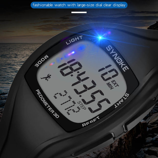 DISU Men's Wristwatch Digital Waterproof Male Chronograph Double Time Sports Watches Man Electronic Watch Led Watch