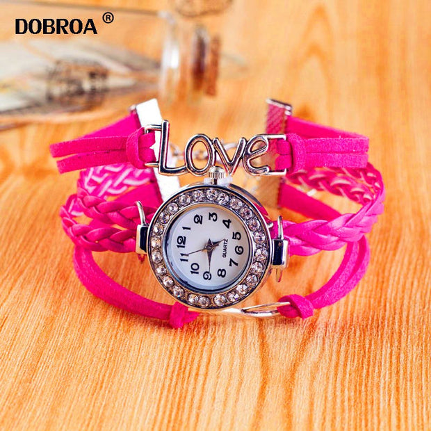 DOBROA Zegarki Damskie Relojes Mujer Fashion Korean Watch 8 Infinite Love Diamond Watch Bracelet Silver Hour Clock Jewelry Gift